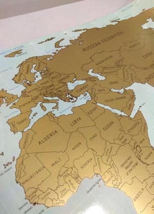 Скретч карта мира Scratch map, англ рус. UFT на подарок в тубусе