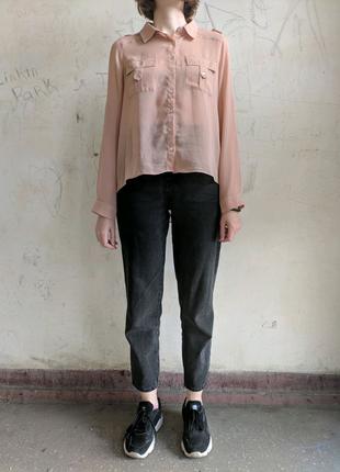 Шифоновая блузка с удлиненной спинкой, шифоновая рубашка