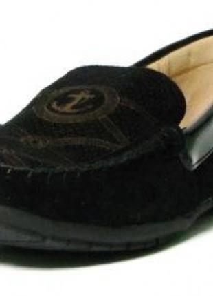 Кожаные черные школьные туфли мокасины туфлі для мальчика хлоп...