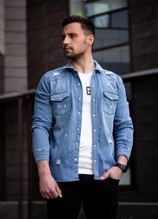 Мужская джинсовая котоновая рубашка джинсовка