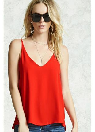 Красный топ блузка Forever21 с V-образным вырезом