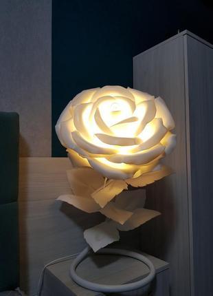 """Прикроватный ночник цветок """"белая ростовая роза"""", светильник в..."""