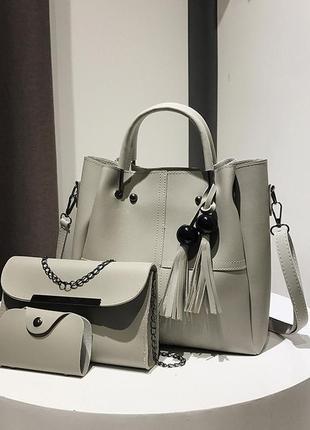 Набор сумок 3в1: сумка, клатч, визитница серый