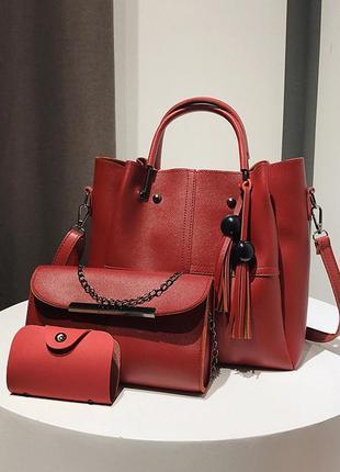 Набор сумок 3в1: сумка, клатч, визитница красный