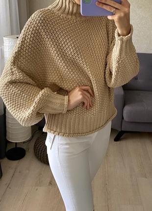 Объёмный свитер с высокой горловиной крупной вязки с шерстью h&m