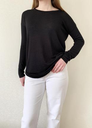 Кофта, лонгслив, джемпер, пуловер, чорний, черный, h&m