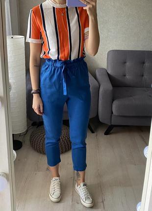 Яркие штаны/брюки с оборочкой на талии h&m