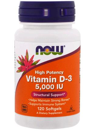 Now Foods,Витамин D-3, высокоактивный,5000 МЕ,120 мягких таблеток