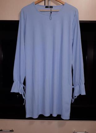 Шикарное платье в рубчик в небесно- голубом цвете раз.
