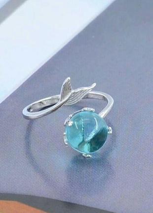 Нежное кольцо русалочки серебряного цвета с бирюзовым камнем в...