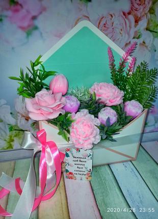 Конверт с цветами из мыла, пионы из мыла, розы, подарок женщине