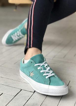 Кеды converse all stars кроссовки бирюзовые со звездой и белой...
