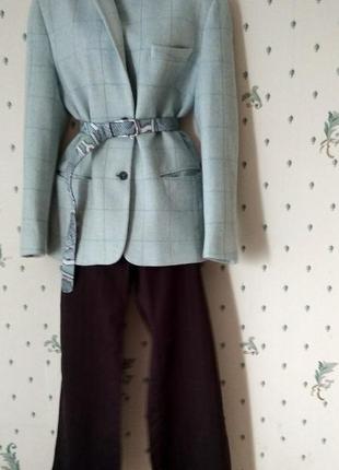 Аутфит  серо голубой жакет в клетку+ брюки палаццо + блузка+ р...