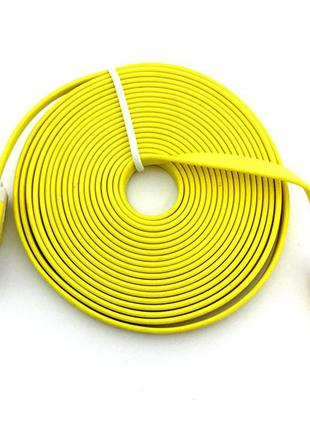 Дата кабель FLAT iPhone 5 3m Yellow (тех. упаковка)