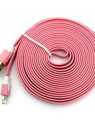 Дата кабель FLAT iPhone 5 3m Pink (тех. упаковка)