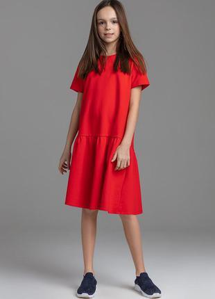 Платье amoremore из футера для девочки, цвет красный 100% хлопок.