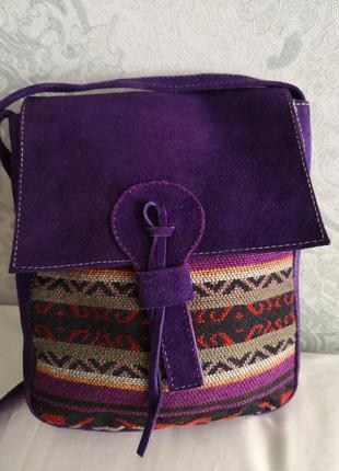 Красивая сумка из замши и очень плотной ткани в этно стиле bass