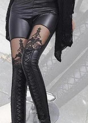 Новые женские лосины с имитацией шнуровки.