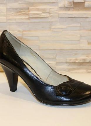 Кожаные женские туфли на устойчивом каблуке натуральная кожа