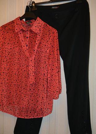 👉суперская красная блузка в горошек👍