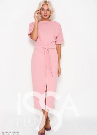 Платье миди нежно-розовое с поясом, р. м