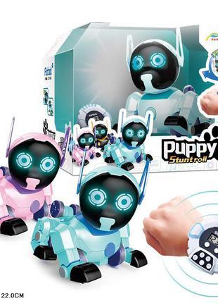 Робот р/у Z105  щенок, пульт в виде часов, 2 цвета.