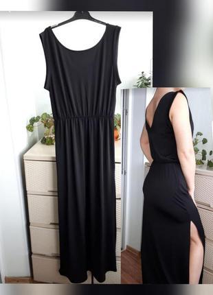 Черное платье макси длинное с разрезами сарафан s divided h&m