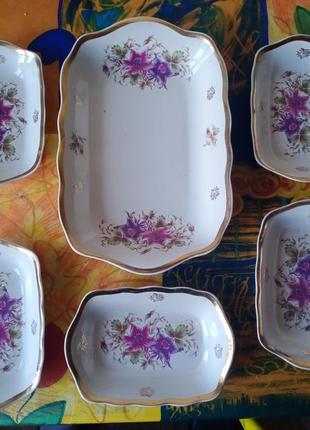 Набор салатников, ссср, керамика с позолотой