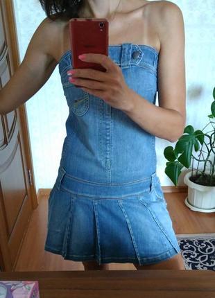 Крутое джинсовое платье бюстье tommy hilfiger, р. м