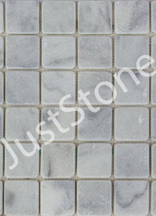 Бело-серая Мраморная Мозаичная плитка Матовая МКР-3СВ (47х47)
