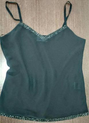 Шифоновая блуза,майка на бретелями с бисером