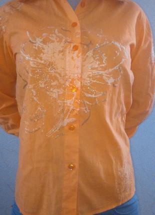 Красивая рубашка, блуза с золотистым декором, молодежная одежда