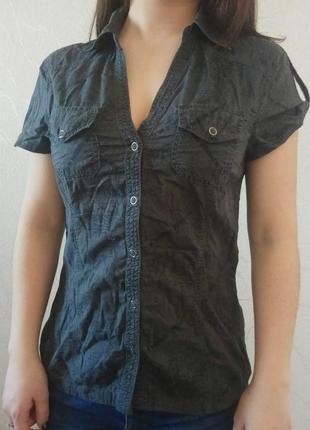 Хлопковая рубашка в принт с карманами, молодежная одежда