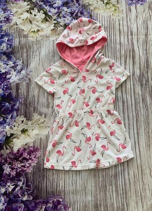 Платье пляжное туника фламинго