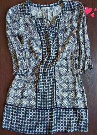 Стильная туника комбинированной расцветки, одежда в стиле бохо
