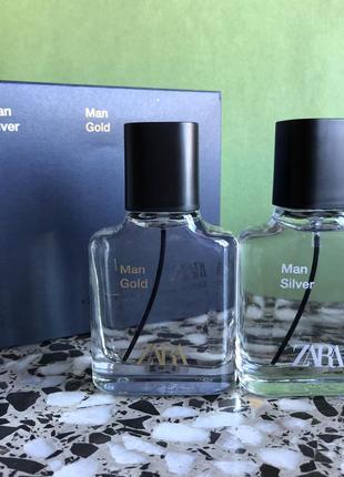 Мужские духи zara в наборе silver/gold /парфуми/туалетная вода...