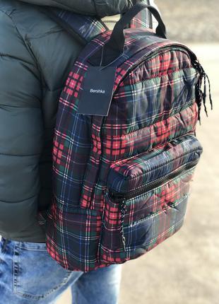 Стильный рюкзак в клетку bershka/ранец/портфель/сумка на плече