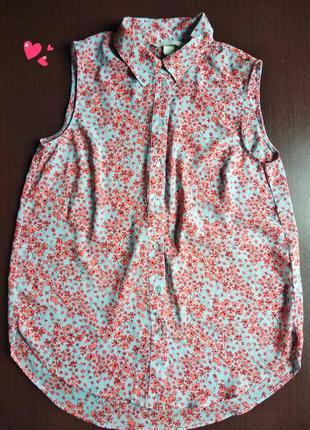 Блуза, рубашка свободного кроя в цветочный принт, молодежная о...