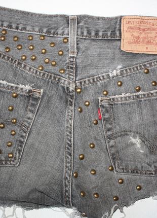 Натуральные шорты с высокой посадкой джинс с заклепками levi s...