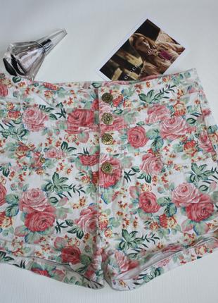 Шорты с высокой посадкой джинс принт рисунок цветы denim co 14...