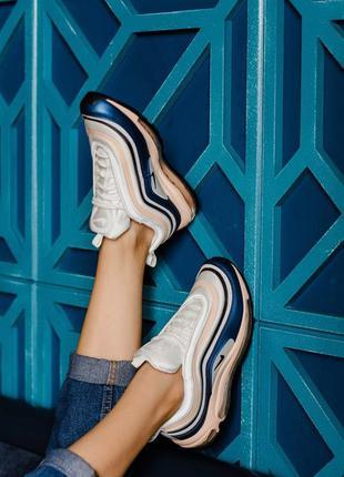Шикарные женские кроссовки nike air max 97, blue/beige белые