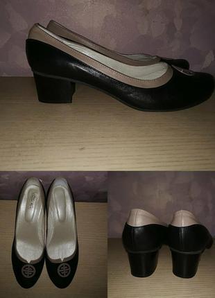 Туфли 42-43 р кожа на удобном каблуке