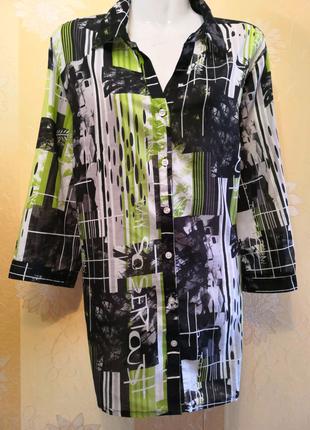 Шифоновая блуза, рубашка, размер 54/56.