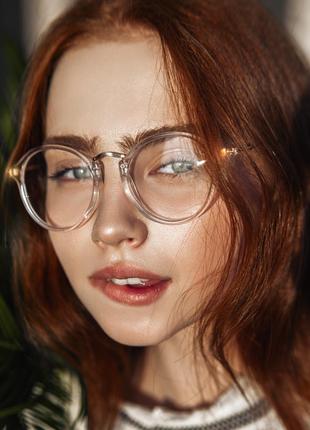 Имиджевые очки нулевки стильные стеклянные в прозрачной пласти...