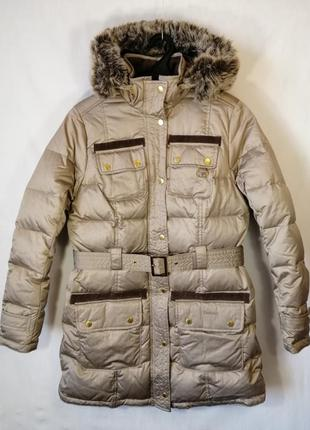 Пуховик barbour теплая зимняя куртка парка золотистого цвета с...