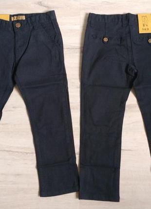 Синие новые котоновые брюки для мальчика в школу 6- 16 р. венгрия