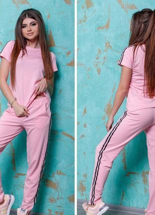 🌺новинка🌺розовый спортивный костюм брюки + футболка/все размер...