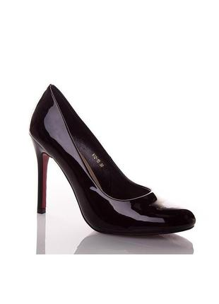 Стильные черные лаковые туфли лодочки lino marano на каблуке ш...