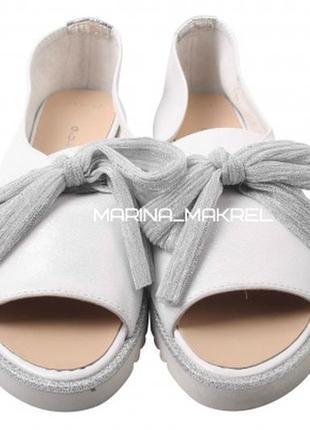 Туфли  с открытым носком guero натуральная кожа сатин турция л...