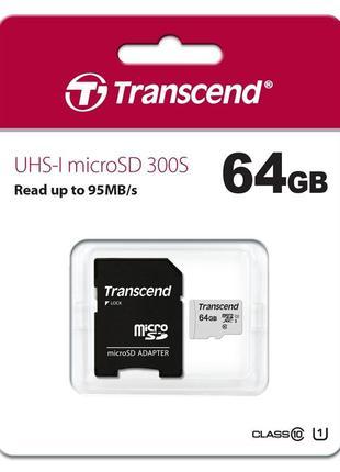 Карта памяти Transcend MicroSD card 64GB class 10
